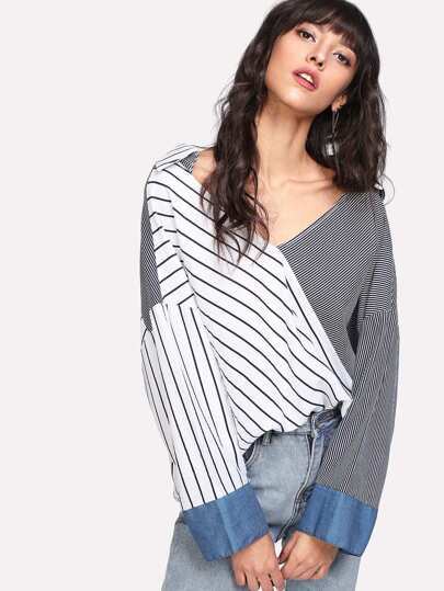 Contrast Cuff Drop Shoulder Striped Blouse