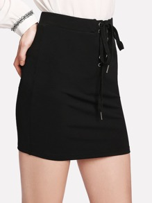Lace Up Front Solid Skirt