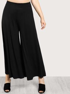 Plus Solid Wide Leg Pants