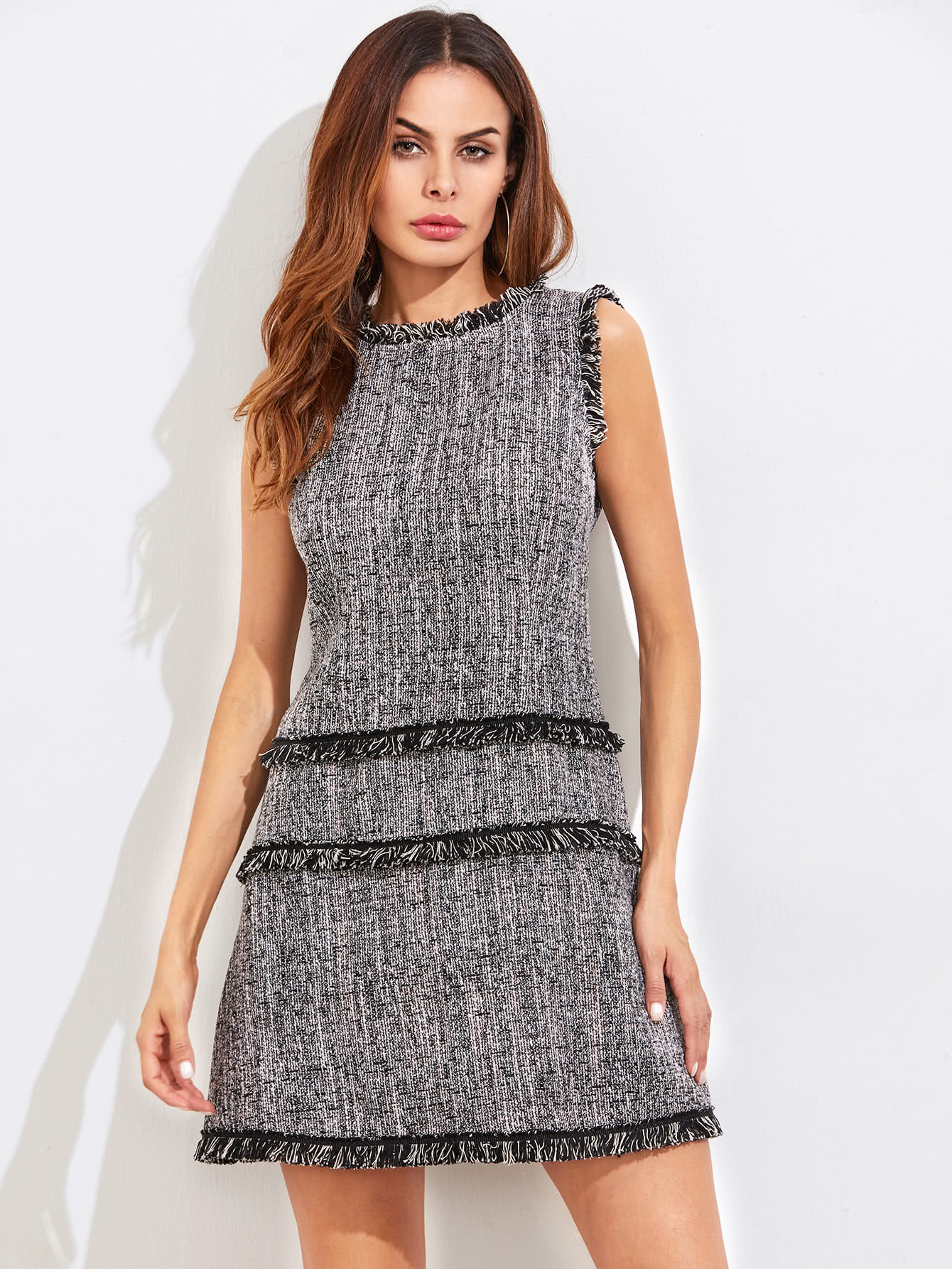 Fringe Detail Zip Back Tweed Dress zip back fit and flared plaid dress