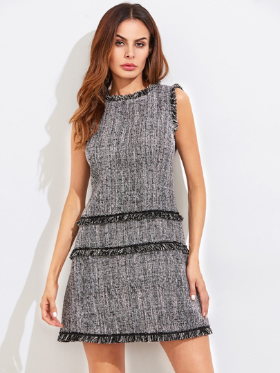 Fringe Detail Zip Back Tweed Dress