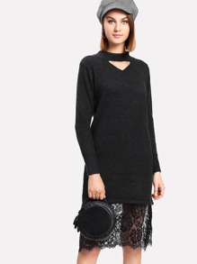 Contrast Eyelash Lace Hem Cut Out Sweater Dress