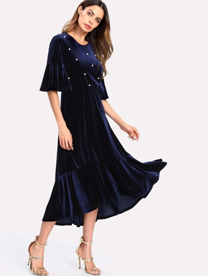 Pearl Beaded Ruffle Sleeve And Hem Velvet Dress