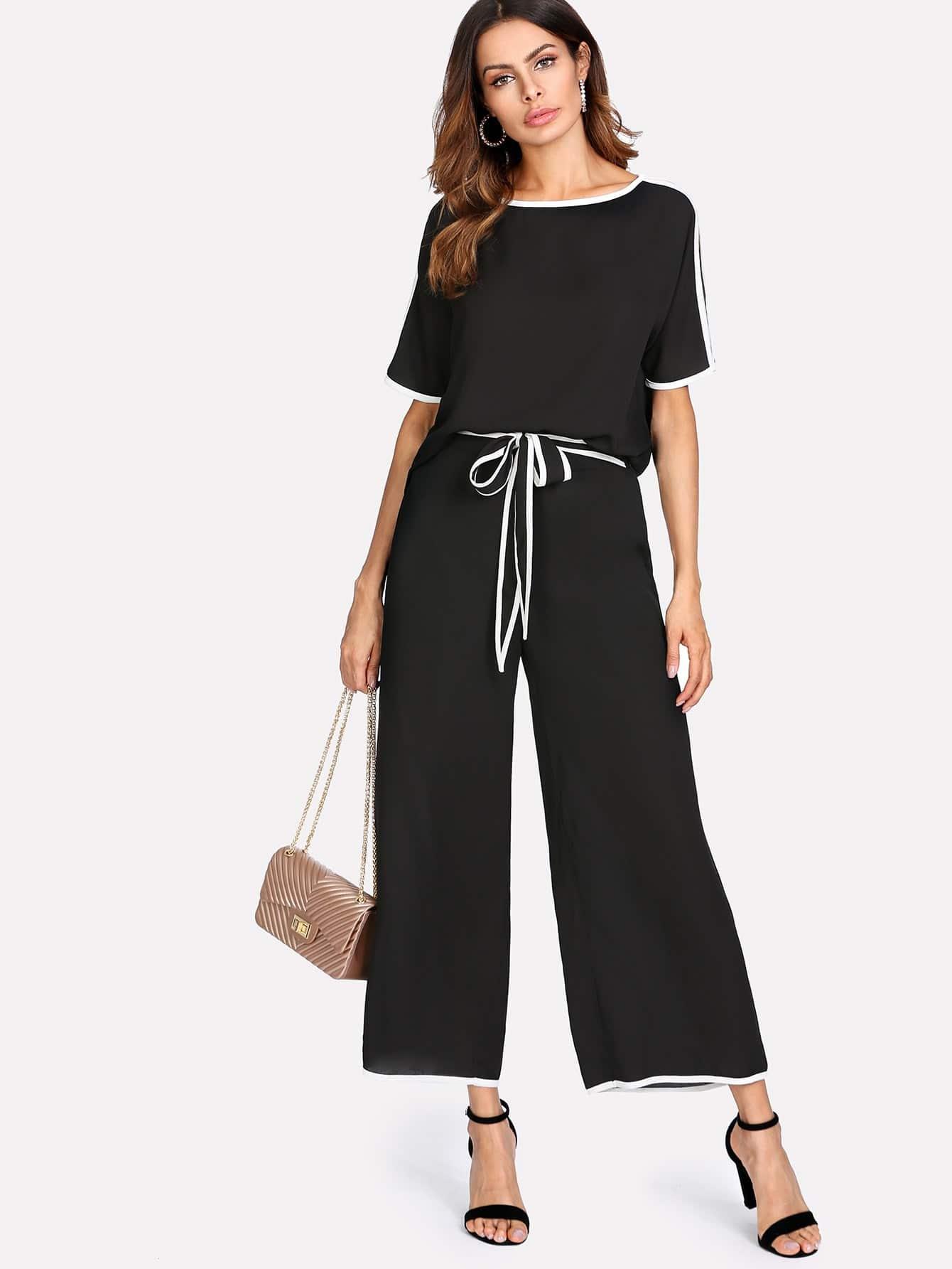 Contrast Binding Split Sleeve Top & Palazzo Pants Set