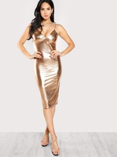 Metallic Bustier Cami Dress