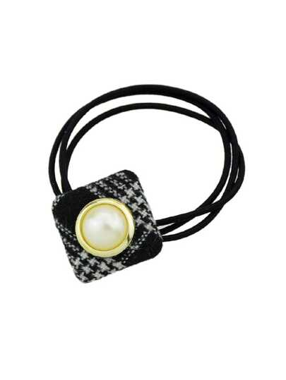 Black Simulated-Pearl Colorful Square Cloth Headbands Headwear