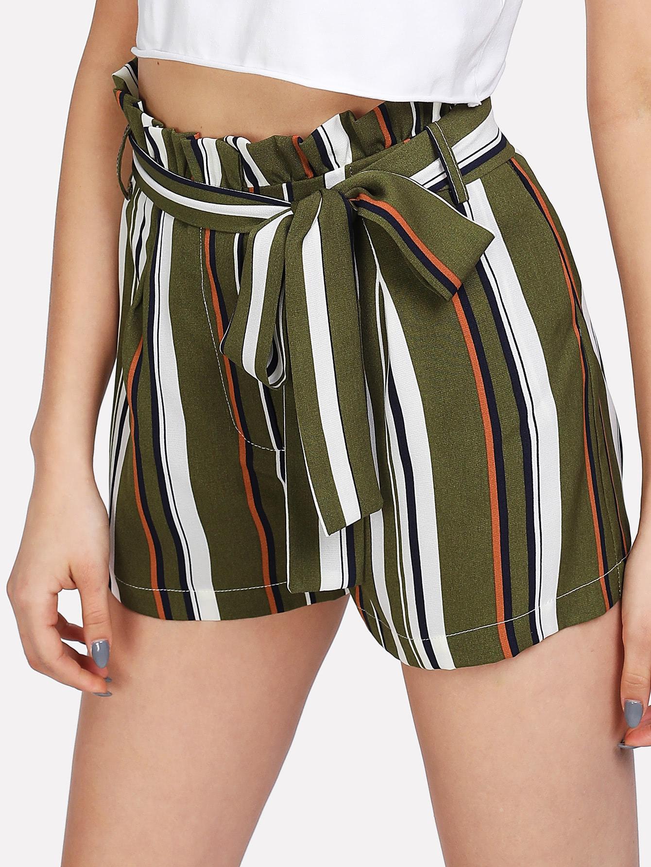 Self Belt Ruffle Waist Striped Shorts ruffle waist self belt grid shorts