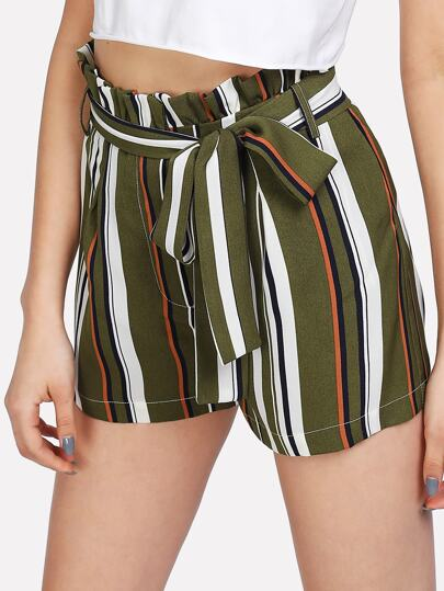 Self Belt Ruffle Waist Striped Shorts