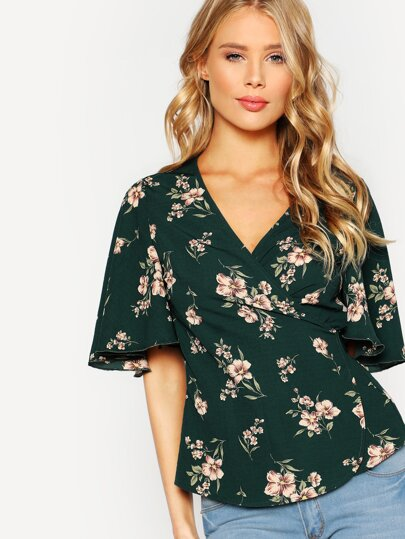 Flower Print Surplice Wrap Top