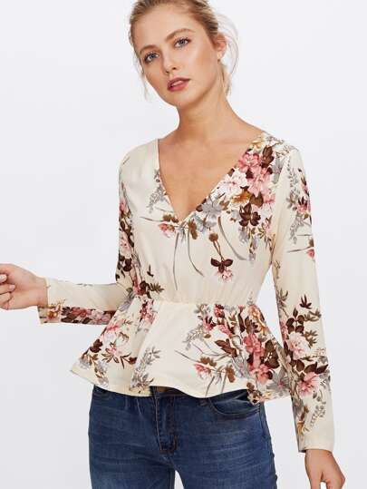 V Neck Self Belted Peplum Top