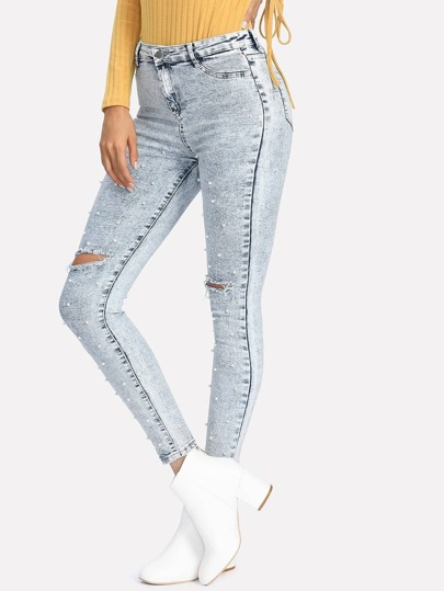 Pearl Beaded Ripped Jeans