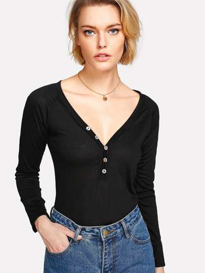 Deep V Neck Button Detail Tee