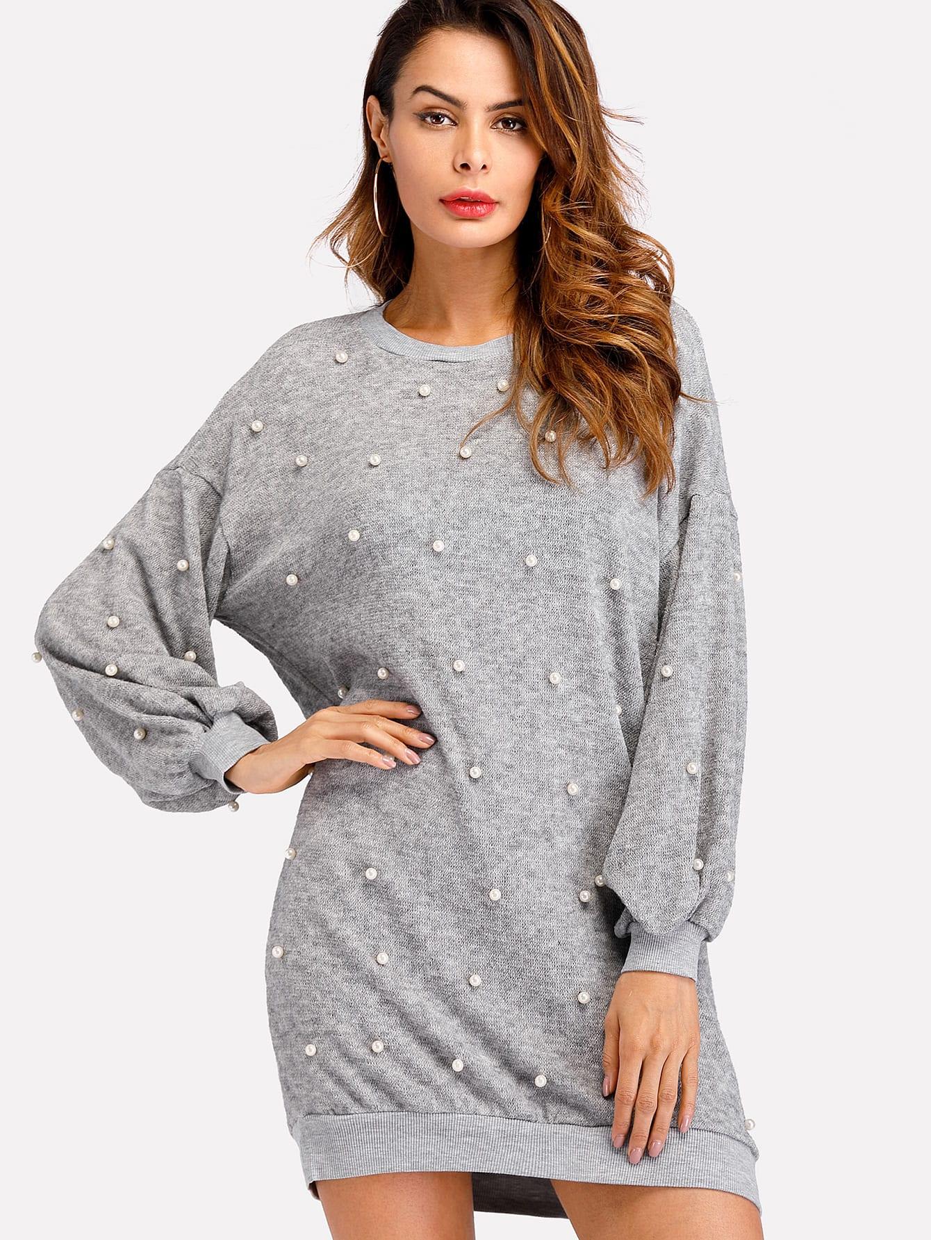 Pearl Beading Rib Trim Marled Knit Dress dress171207104