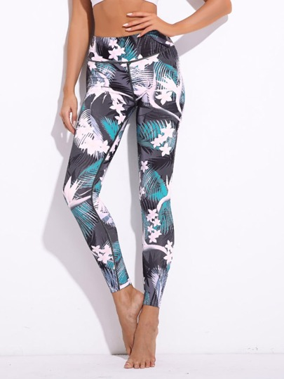 Leggings con stampa tropicale