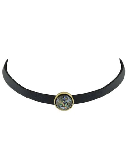 Black Choker Necklace With White Black Beads Gothic Jewelry