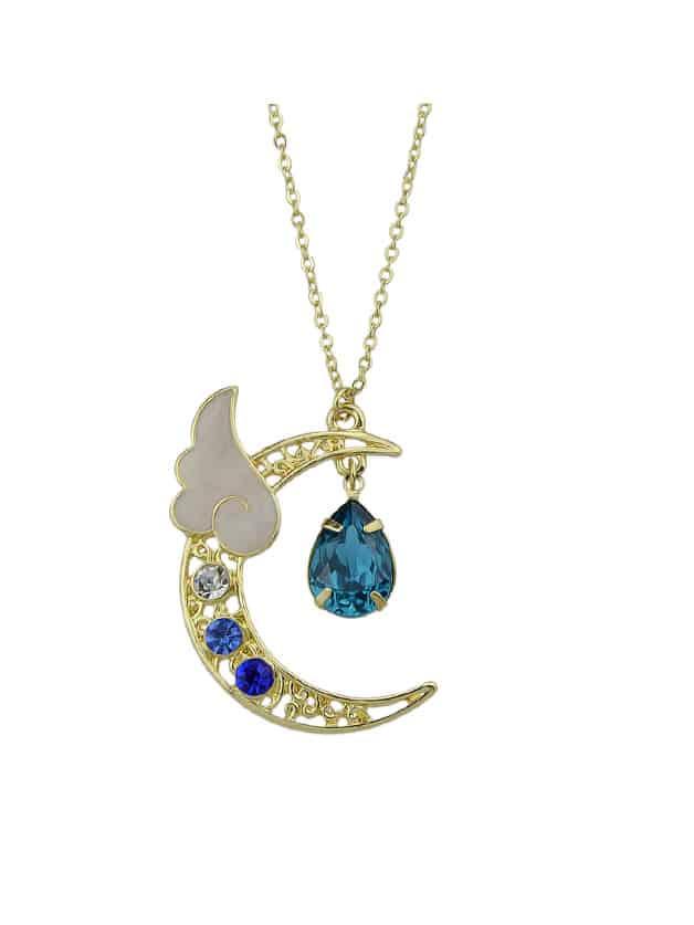 Blue Water Drop Shape Moon Wings Pendants Necklace