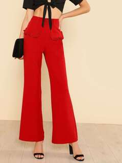 Frilled Faux Pocket Detail Pants