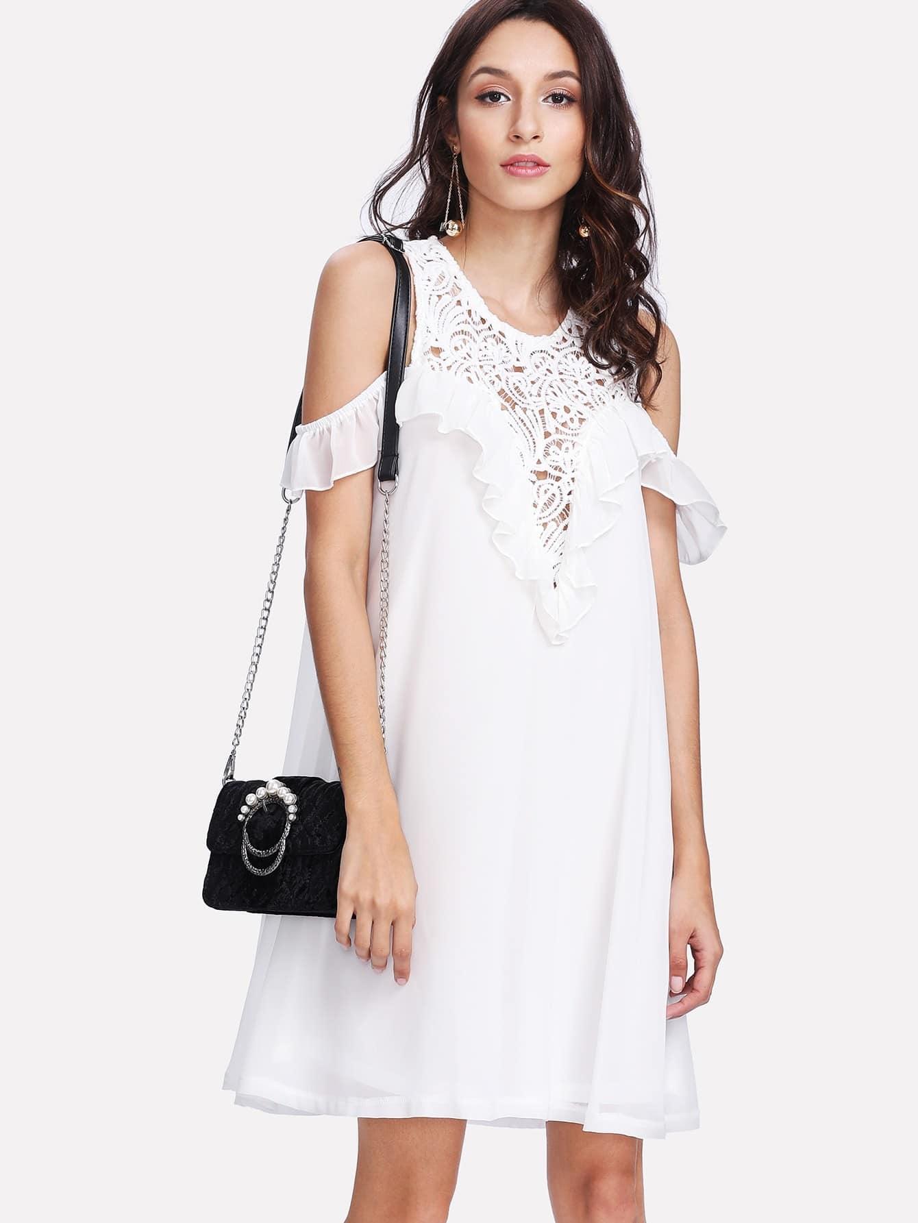 Flounce Trim Lace Plunge Sweetheart Dress