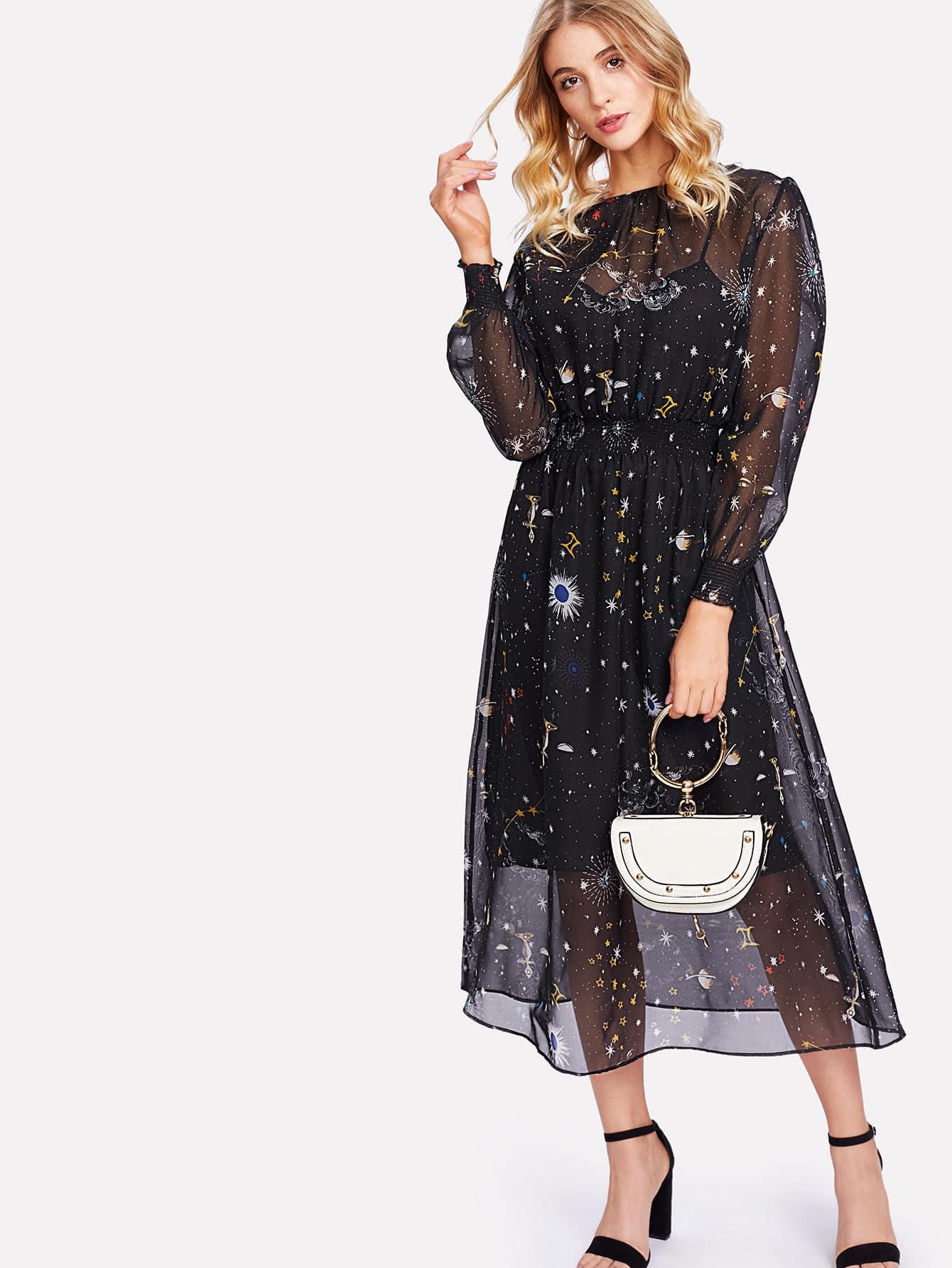 Купить Модный топ на бретельках и модное сетчатое платье с принтом, Nathane, SheIn