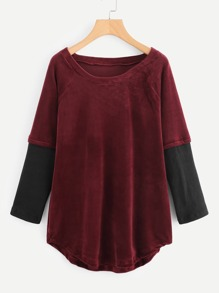 Raglan Sleeve Curved Hem Color Block Tee