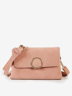 Front Circle Faux Suede Crossbody Purse PINK