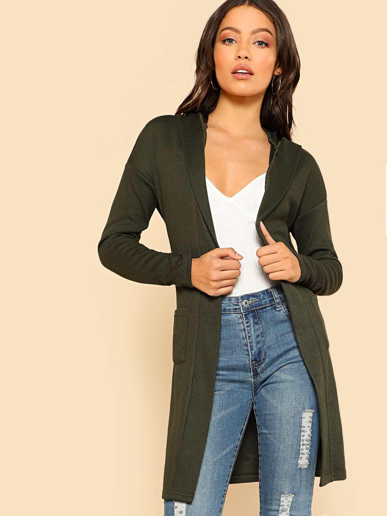 Inseam Pocket Detail Belted Hooded Jersey Cardigan -SheIn(Sheinside)