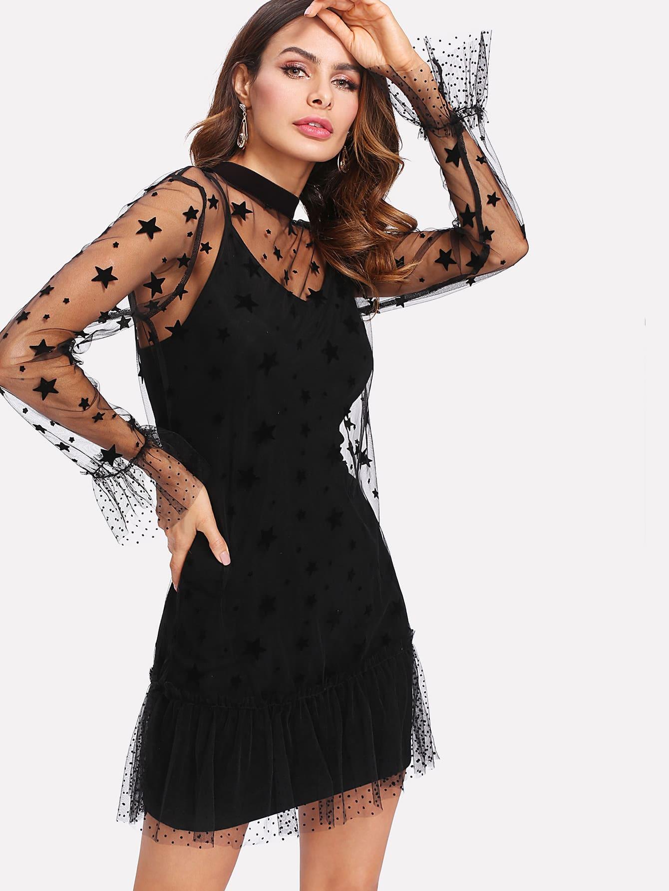 Tie Back Star Mesh Ruffle Dress Without Cami ruffle mesh panel dress