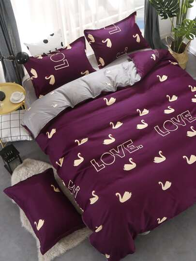 2.2m 4Pcs Swan Print Duvet Cover Set