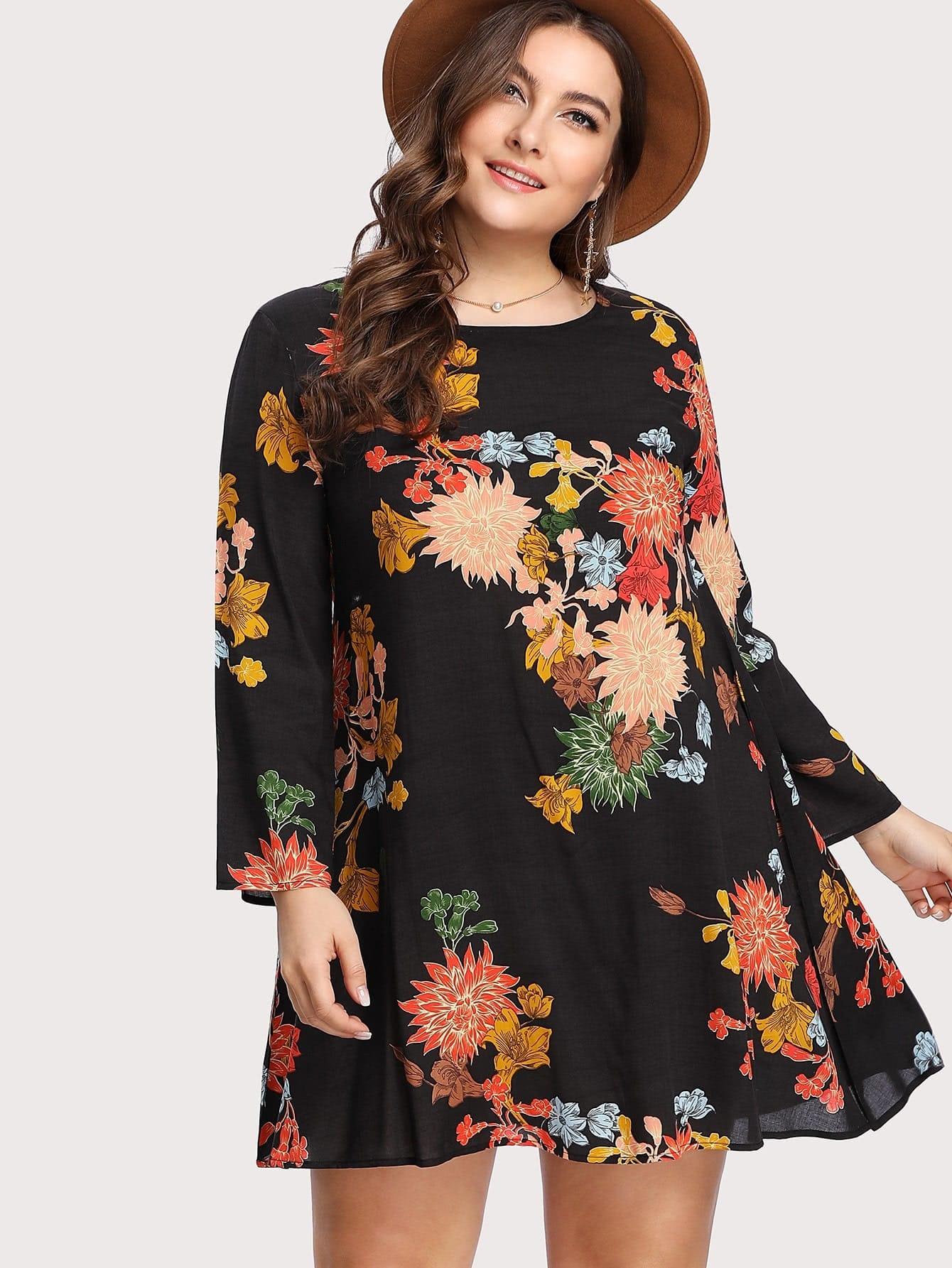Plus Flower Print Swing Dress