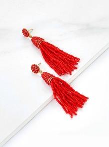 Beads Tassel Drop Earrings 1pair