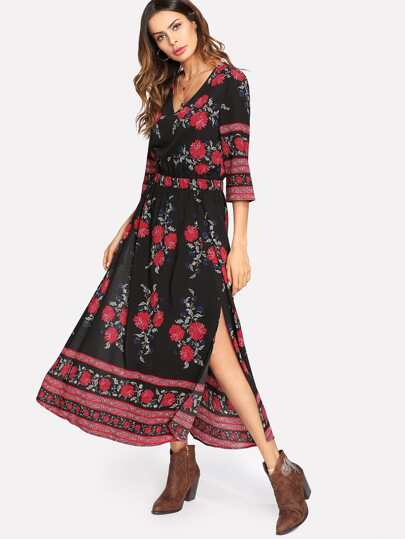 M-Slit Flower Print Dress