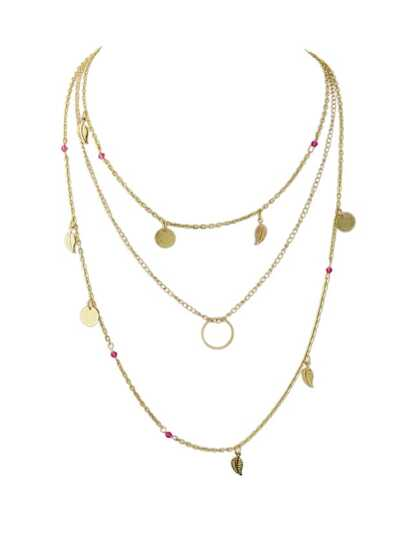 Hotpink Beads Round Leaf Charm Maxi Necklace Collier Femme