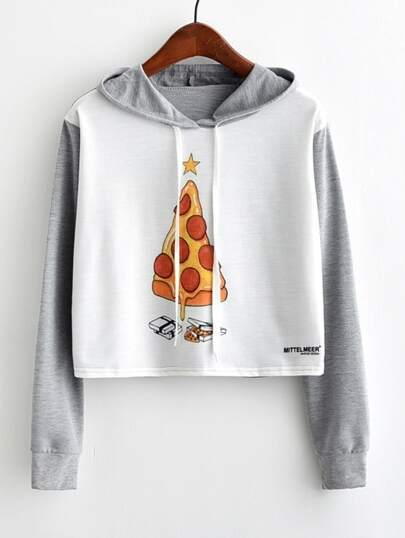 Cartoon Print Marled Crop Hoodie