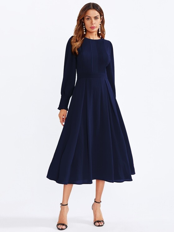 1b54151c686d Frilled Bishop Sleeve Pleated Fit   Flare Dress