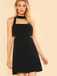Side Cut Out Midi Dress BLACK