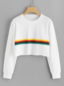 Contrast Striped Raw Hem Crop Sweatshirt