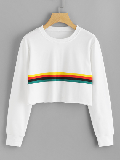 Contrast Striped Raw Hem Crop Sweatshirt