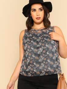 Frill Detail Calico Mesh Shell Top