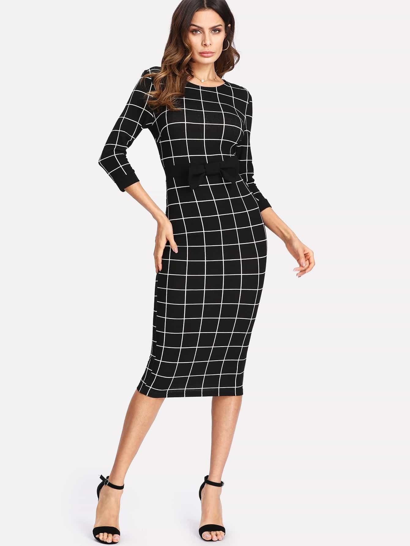 Купить Модное клетчатое платье с бантом, Andy, SheIn