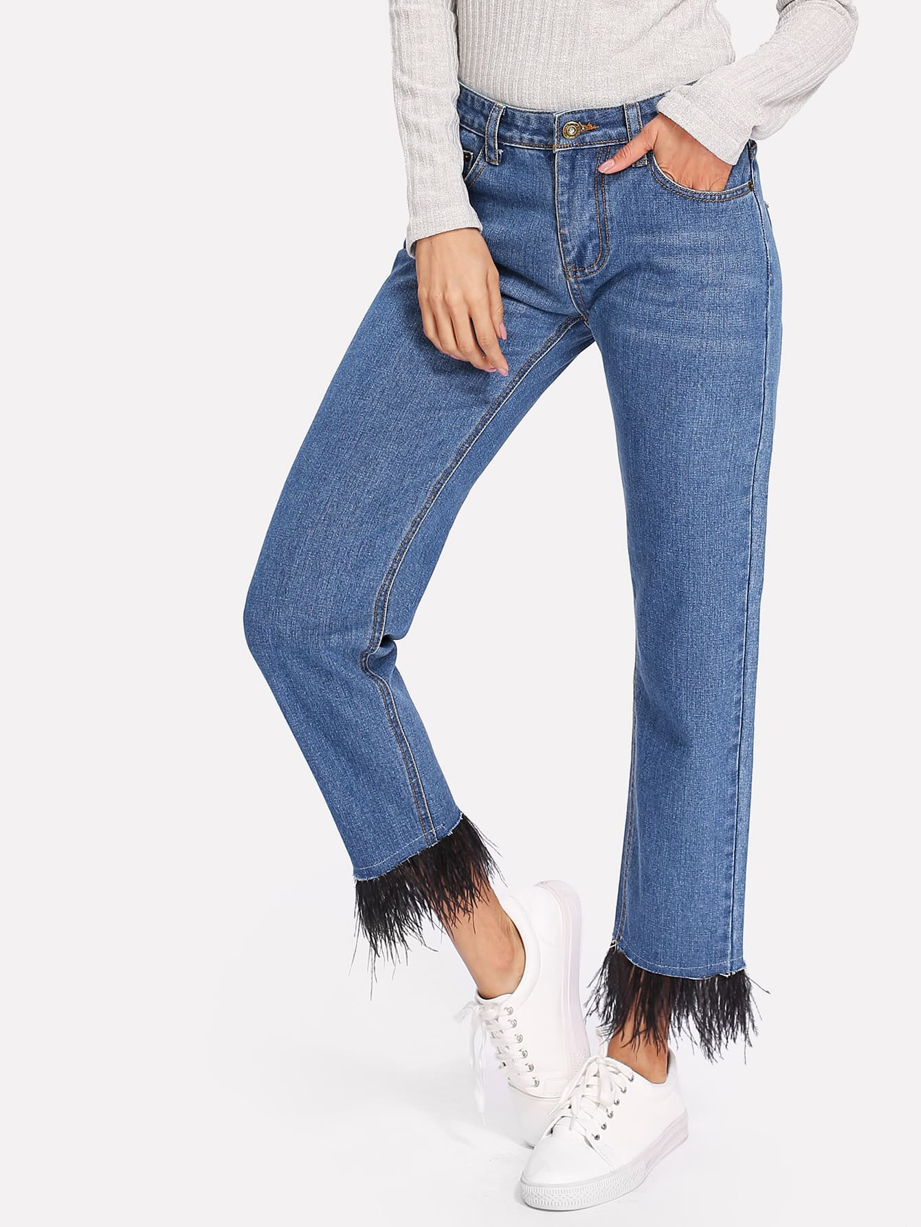 Feather Contrast Hem Jeans
