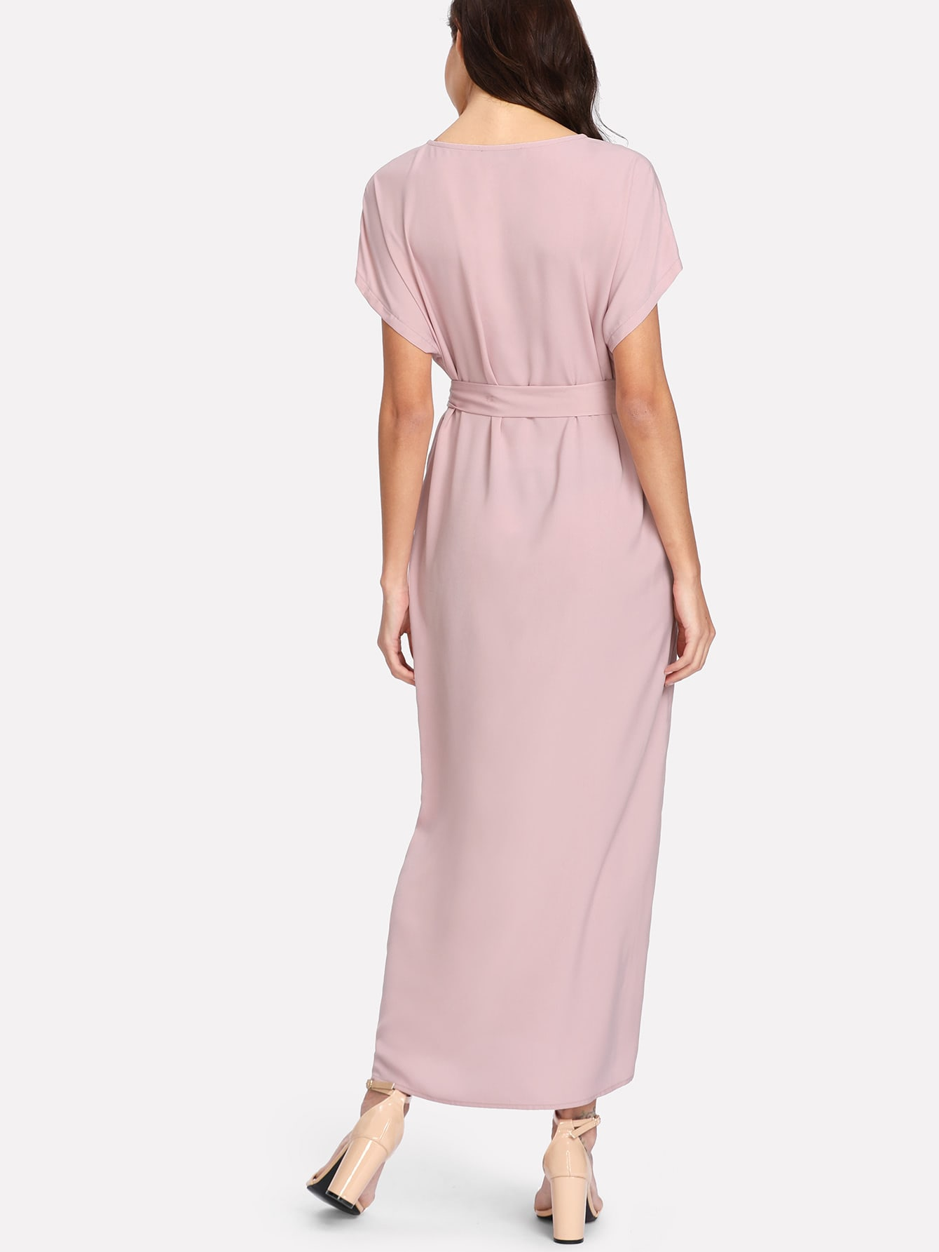 Flower applique dolman sleeve dress shein sheinside for Dolman sleeve wedding dress