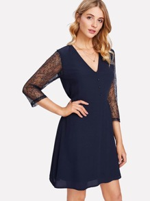 Contrast Lace Sleeve Button Front Dress