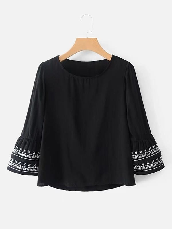 Embroidery Tiered Sleeve Blouse lace panel tiered sleeve blouse
