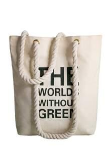 Letter Print Canvas Shoulder Bag