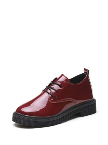Lug Sole Patent Leather Oxfords