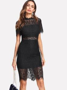 Scallop Eyelash Lace Trim Fitted Dress