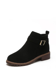 Buckle Detail Chunky Heeled Boots