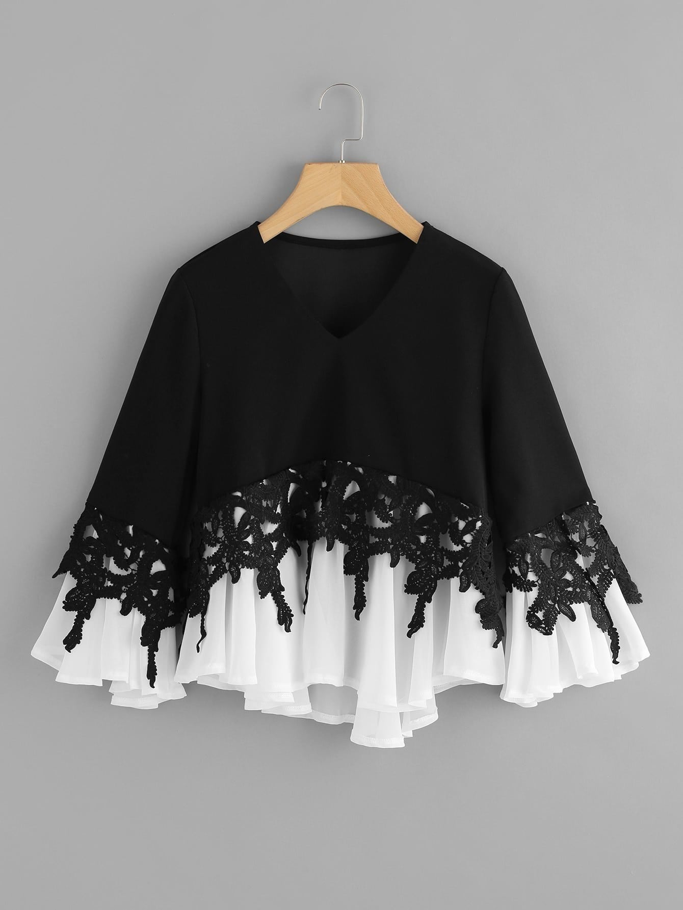 Lace Applique Two Tone Flowy Top contrast embroidered two tone plush top