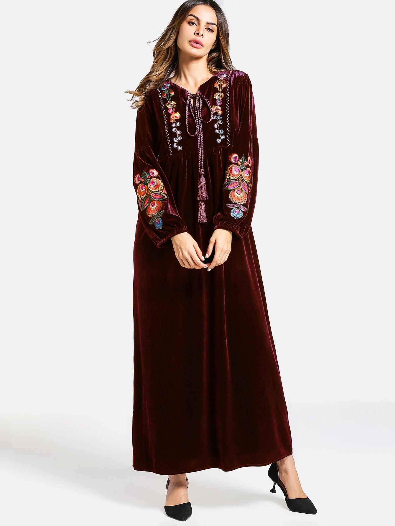 Tassel Tie Neck Embroidery Velvet Dress