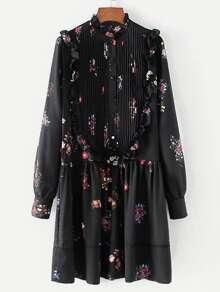 Pleated Detail Ruffle Trim Floral Dress